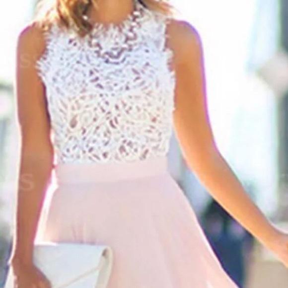 fc6fc00aff0a0d Dresses | Formal Peachwhite Lace Maxi Dress Sleeveless 10 | Poshmark